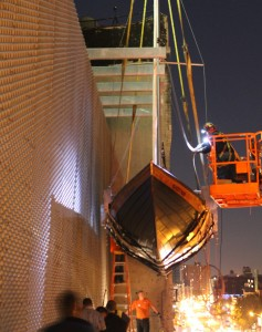 Installation of Chris Burden's Ghost Ship (2005) on the Museum's exterior
