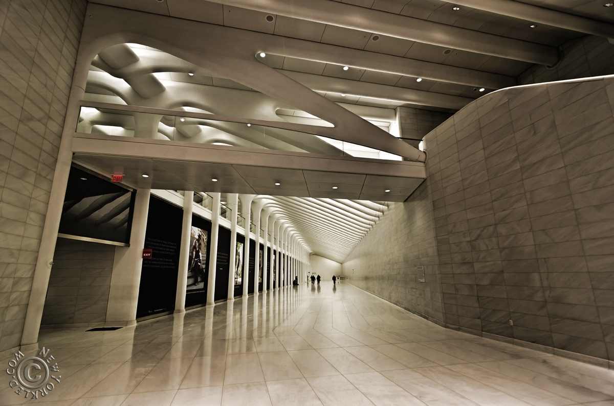 Editorial / Personal Use ONLY - The 600 foot west concourse PATH tunnel leading from the World Trade Center to Brookfield Place.
