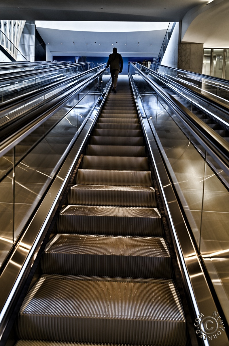 Editorial / Personal Use ONLY - Escalator leading from to the Brookfield Place Glass Pavilion.