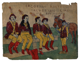 Henry Darger Lagorian Rangers (Calvernian Girl and Boy Scouts), n.d., Watercolor and pencil on paper,  8 x 12 inches (20.3 x 30.5 cm) Andrew Edlin Gallery
