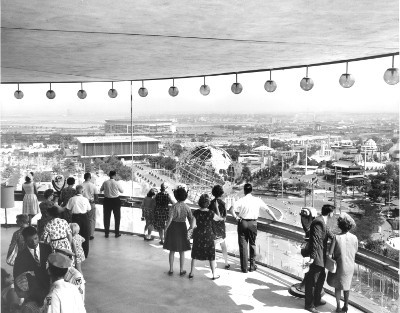 View of the fairgrounds from New York State Pavilion Observation Deck, July 30, 1964. Photo courtesy of the NYC Parks Photo Archive.
