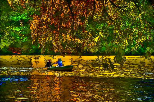 Autumn Rowing within the Lake at Central Park.