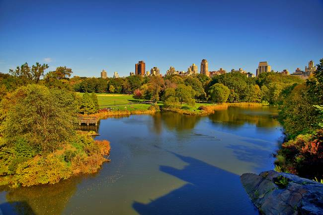 Turtle Pond within Central Park during the days of Autumn.