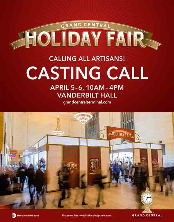 Grand central holiday fair casting call 2017 new yorkled for Grand central station craft show