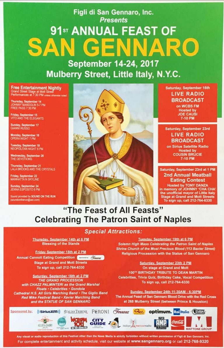 Annual San Gennaro Feast in New York City's Little Italy September 13 – 23, 2018