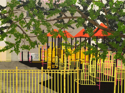 Image: erik benson (b. 1974), Playground (TroooLife), 2013, Acrylic on canvas over panel, 30 x 40 inches (76.2 x 101.6 cm)
