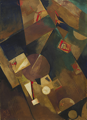 NEW HARMONY: ABSTRACTION BETWEEN THE WARS, 1919-1939 Kurt Schwitters b. 1887, Hannover, Prussia; d. 1948, Kendal, England Merzbild 5 B (Picture Red Heart-Church) (Merzbild 5 B [Bild rot Herz-Kirche]), April 26, 1919 Tempera, crayon, and paper on cardboard, 83.5 x 60.2 cm Solomon R. Guggenheim Museum, New York © 2013 Artist's Rights Society (ARS), New York/VG Bild-Kunst, Bonn